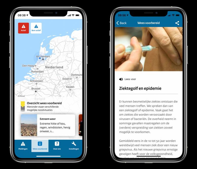 NL-Alert app met Wees voorbereid.