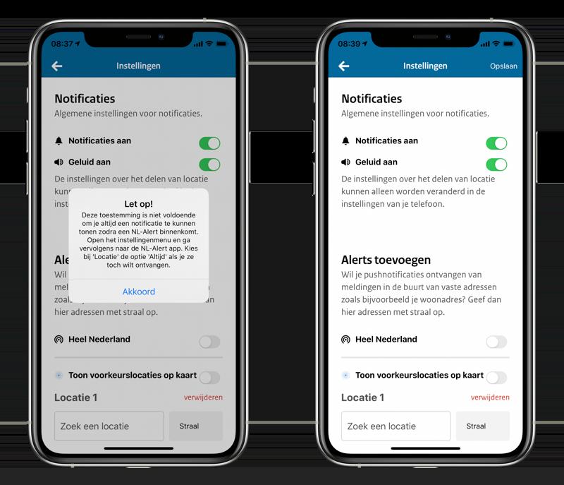 NL-Alert app instellingen.