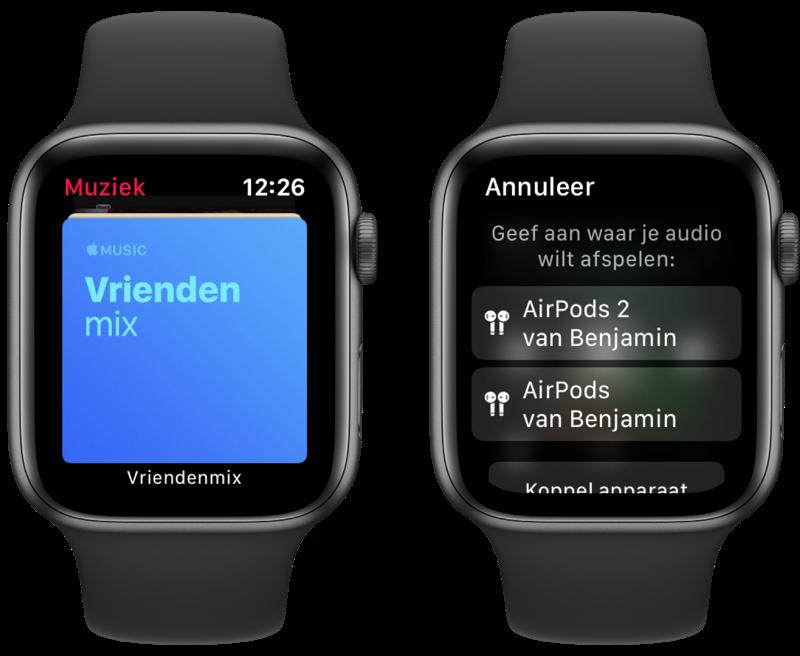 Muziek op Apple Watch luisteren.