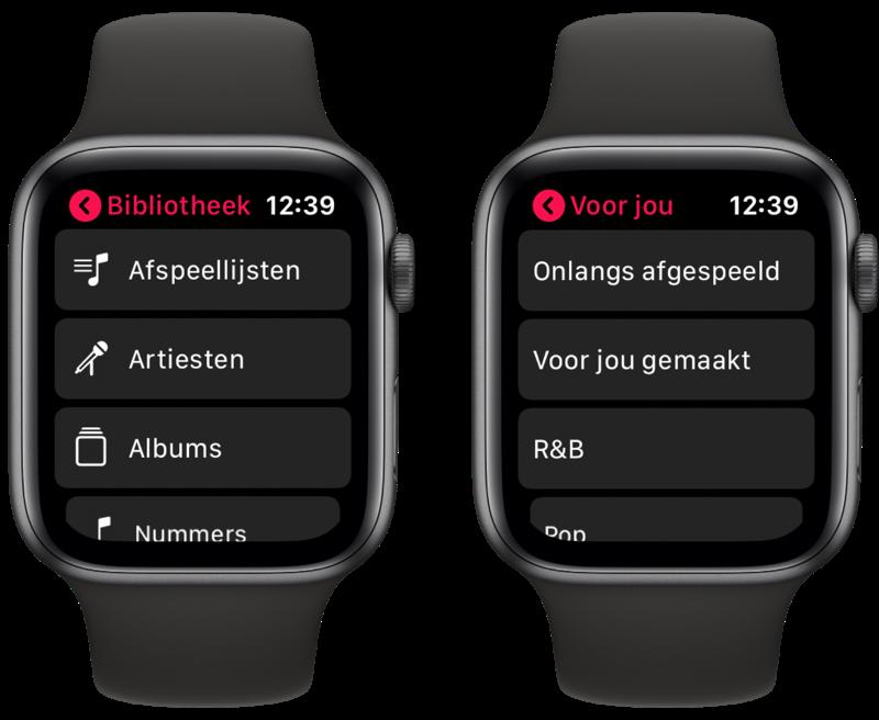 Muziek op Apple Watch streamen.