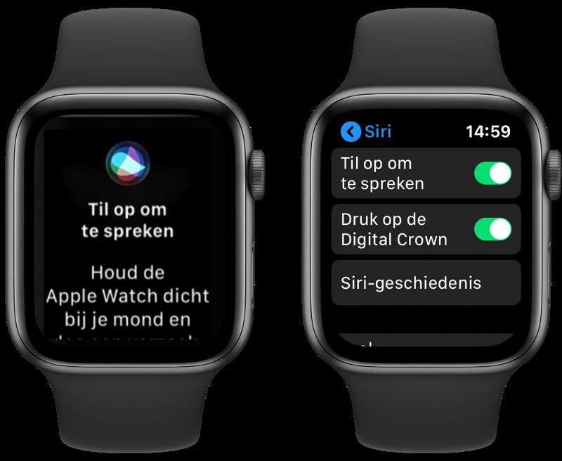 Siri op de Apple Watch: Til op om te spreken.