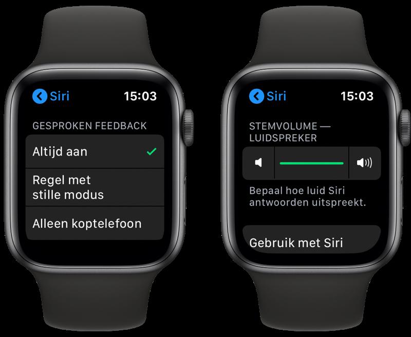 Siri op de Apple Watch spreekt en volume instellen.