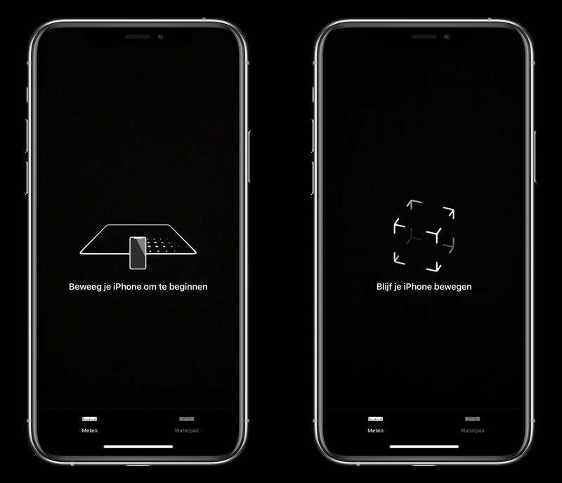Meten-app op iPhone kalibreren.