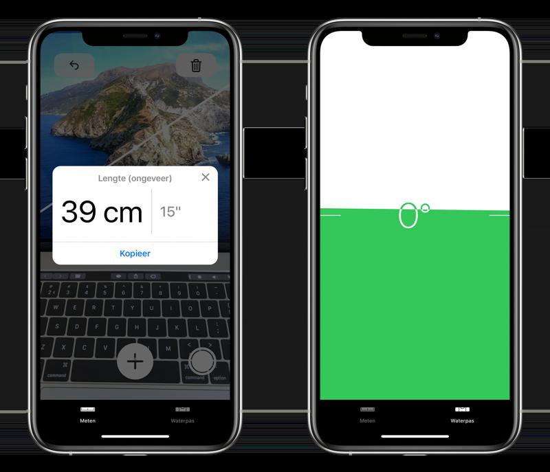 Meten-app met waterpas.