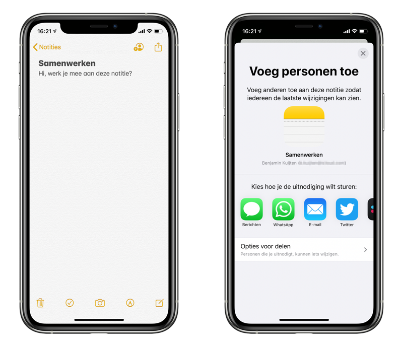 Notities-app samenwerken instellen