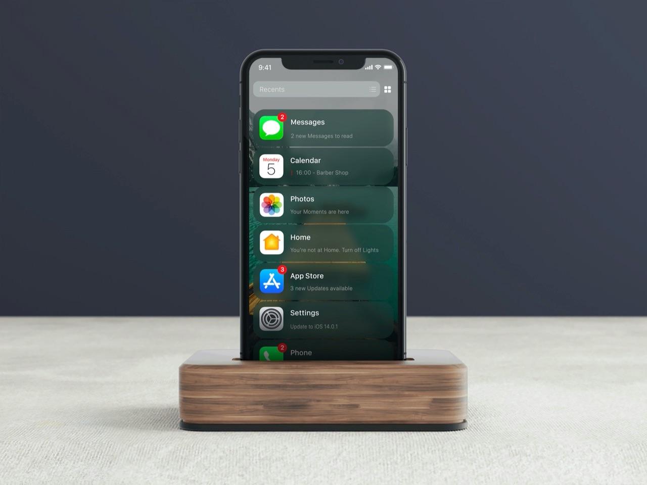 iOS 14 concept lijstweergave met recente apps.