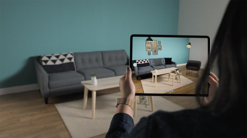 IKEA Place op iPad Pro met LiDAR Scanner.