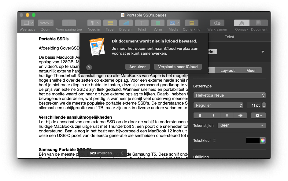Samenwerken in iWork op de Mac