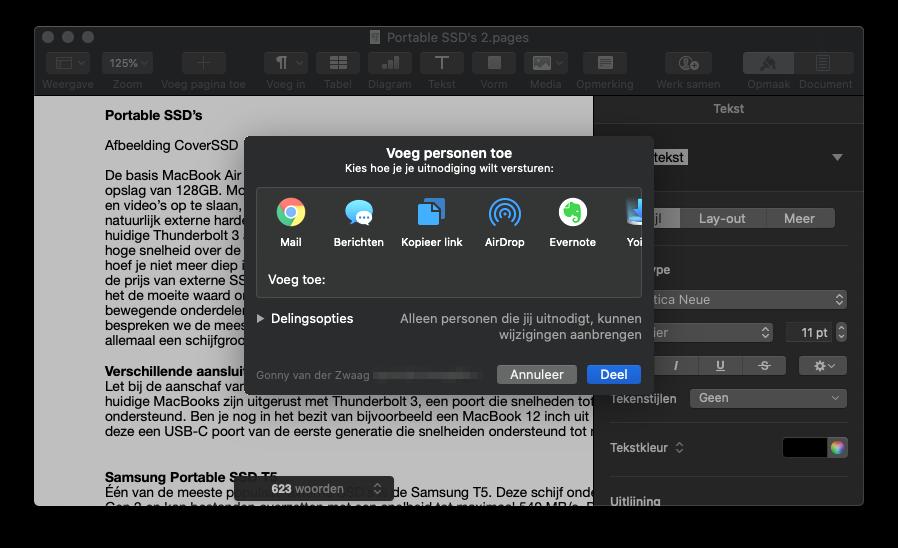 Samenwerken in iWork op Mac