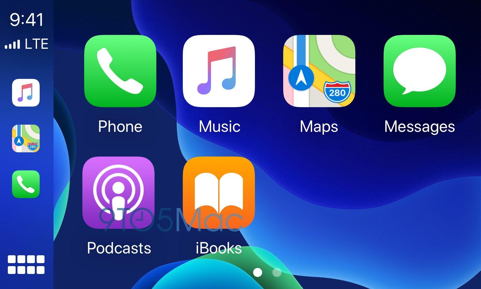 CarPlay achtergrond in iOS 14 in blauw.