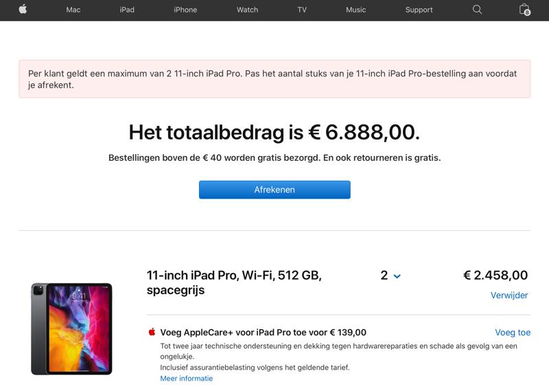 iPad Pro maximaal 2 per klant