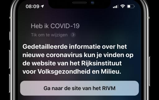 Siri COVID-19 vragen
