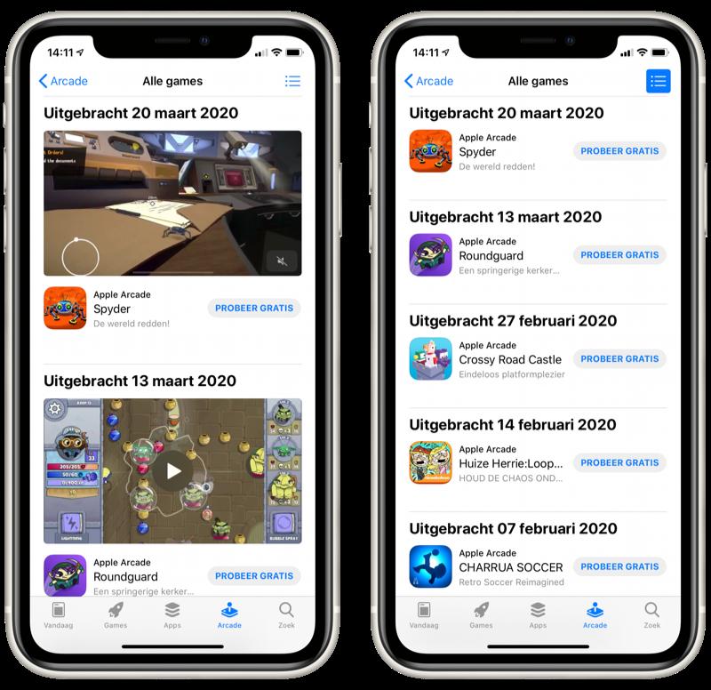 Apple Arcade: Alle games in lijstweergave.