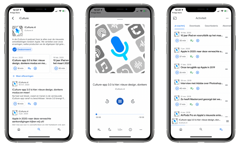 Google Podcasts-app op iPhone