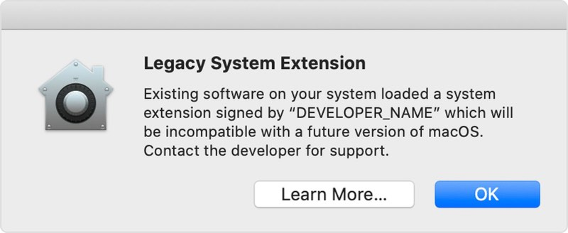 macOS Catalina Legacy System Extension