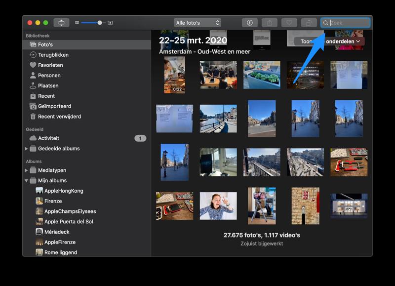 Zoeken in de Foto's-app op de Mac