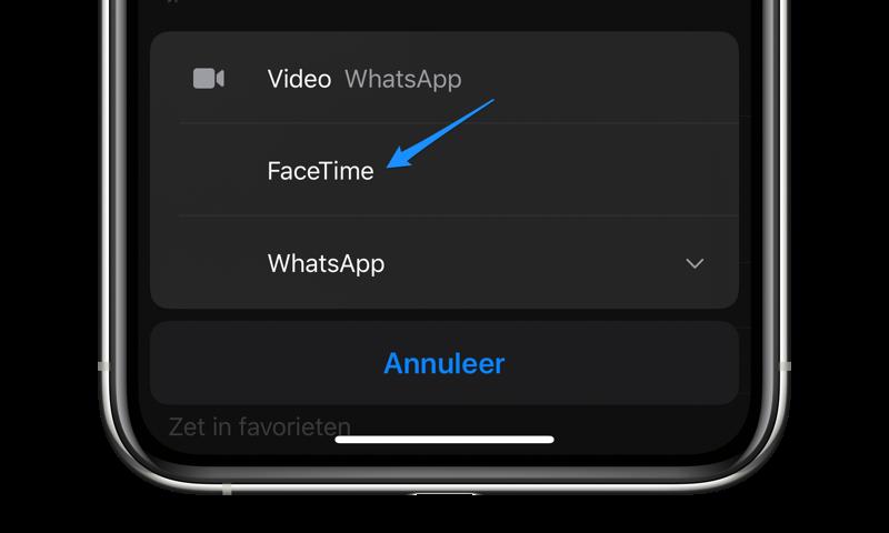 FaceTime-gesprek starten via contacten