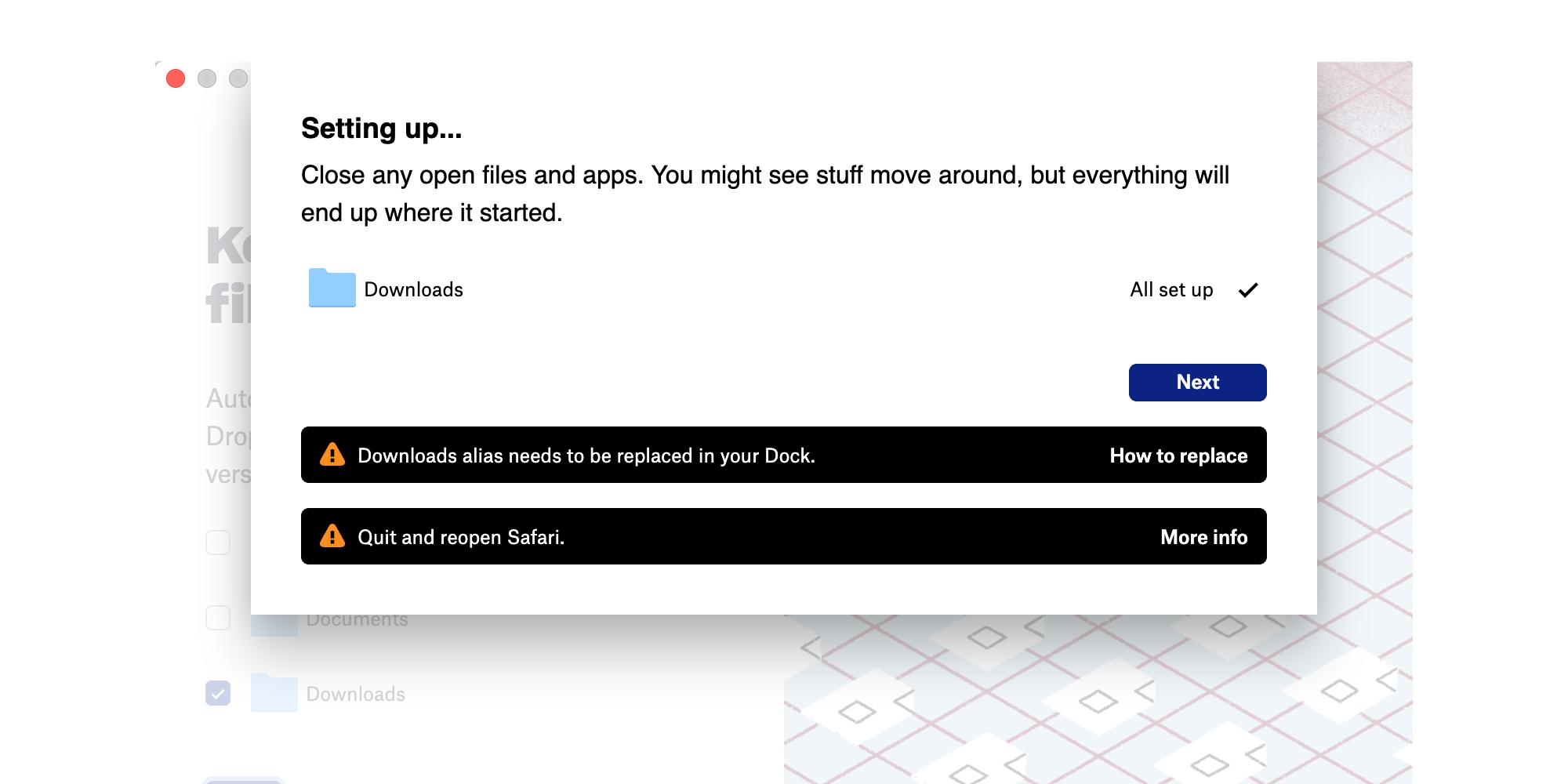 Dropbox downloads synchroniseren in beta.