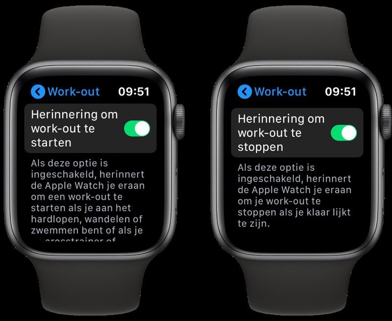 Instelling Apple Watch workout herinnering starten of stoppen.