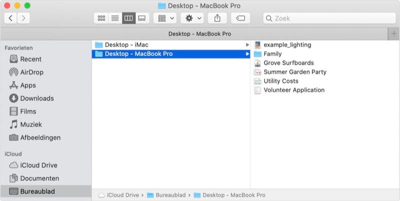 Mac iCloud bureaublad synchroniseren.