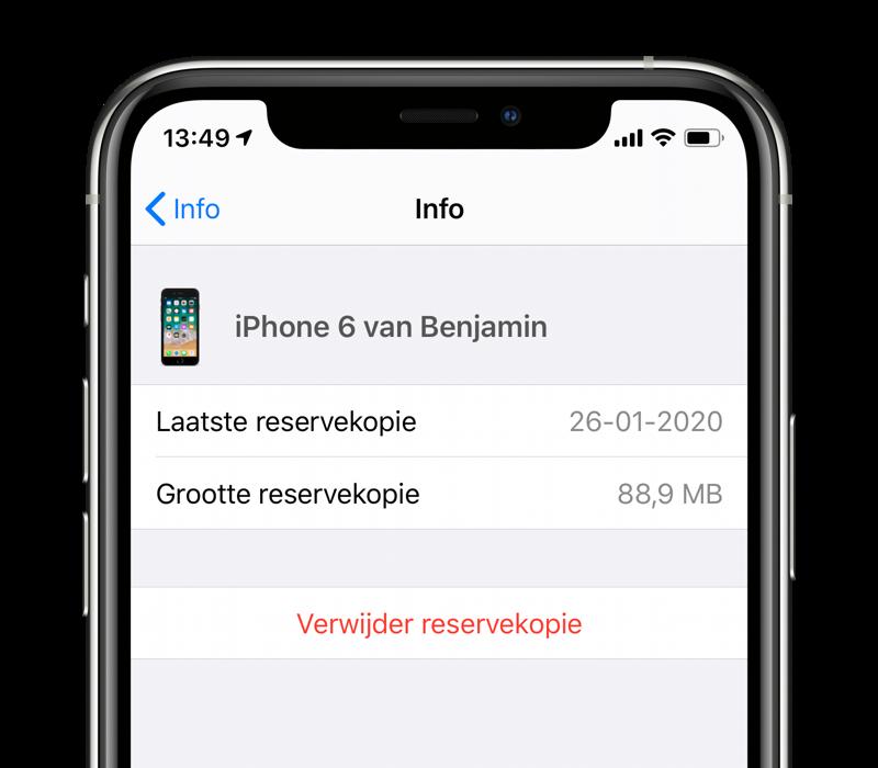 iCloud-reservekopie verwijderen.