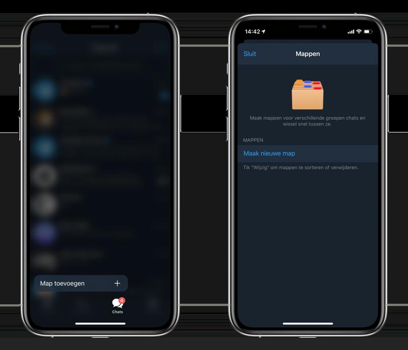 Telegram chat mappen aanmaken.