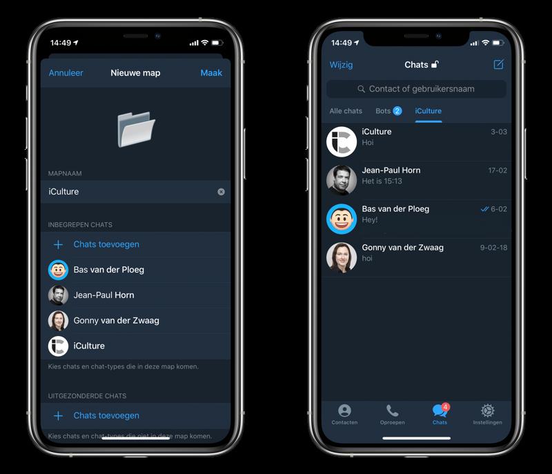 Telegram chat mappen en folders.