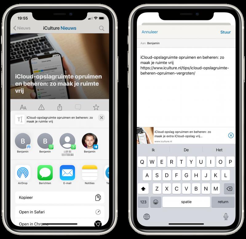 WhatsApp deelmenu in iOS 13 met contactsuggesties.
