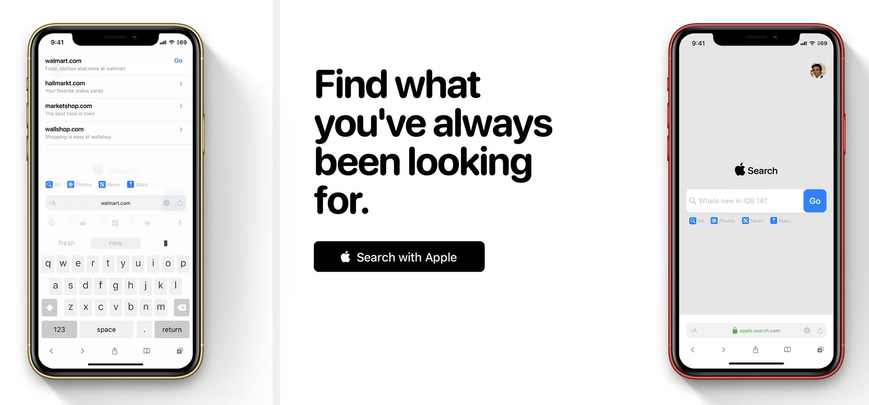 iOS 14 concept met Search en Safari.