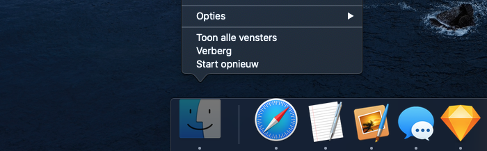 Finder herstarten via Dock