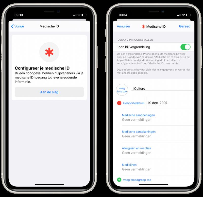 Medische ID op iPhone instellen.