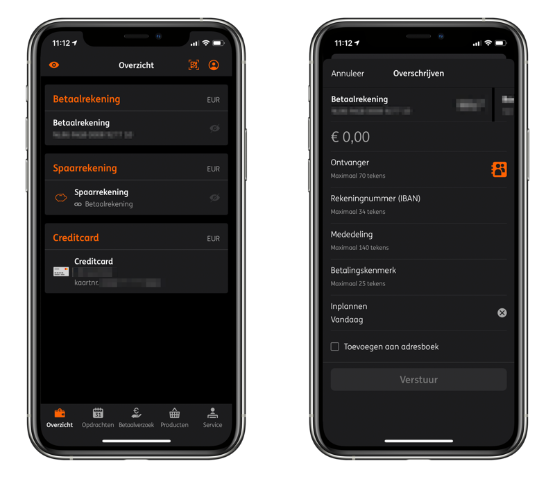 ING-app donkere modus met overzicht.