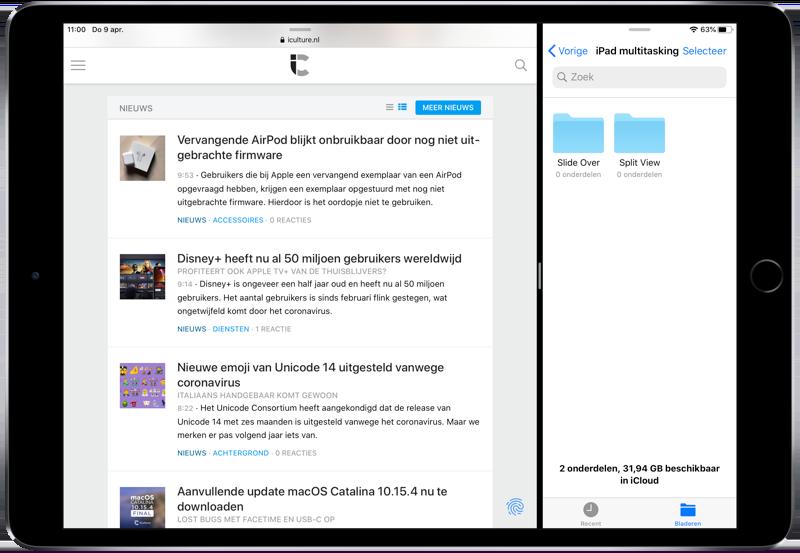 Split View op iPad met Safari en Bestanden.
