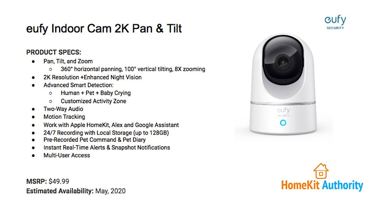 Eufy Indoor Camera 2K Pan & Tilt specs.