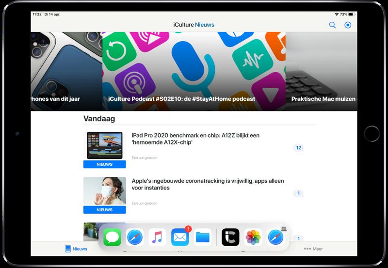 Dock op de iPad in een app.