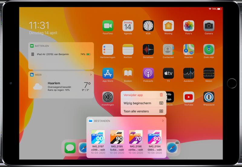 Dock op de iPad in beginscherm met app Bestanden.