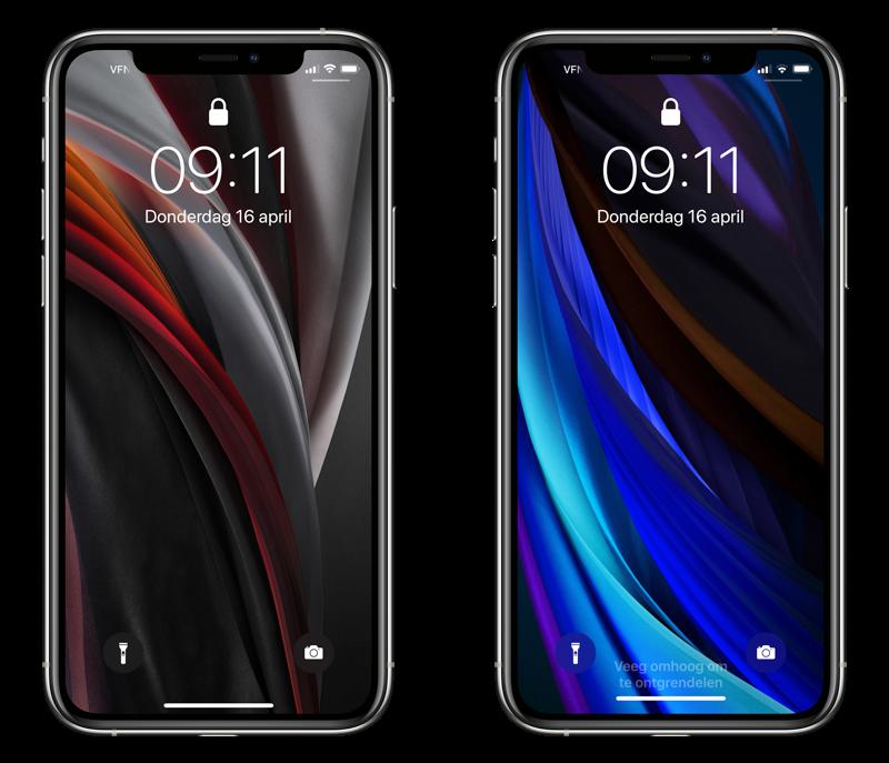 iPhone SE 2020 achtergronden in blauw en grijs.