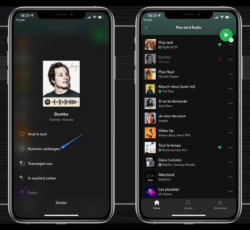 Nummers afspeellijst Spotify