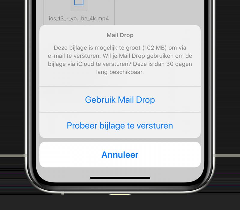 Mail Drop op iPhone bij grote bestanden mailen.