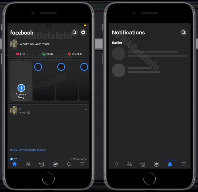 Facebook dark mode screenshots.