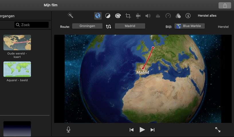 Route-animatie in iMovie