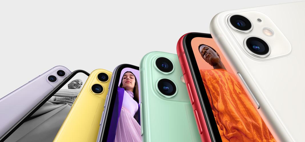 iPhone 11 ingezoomd met meerdere kleuren.