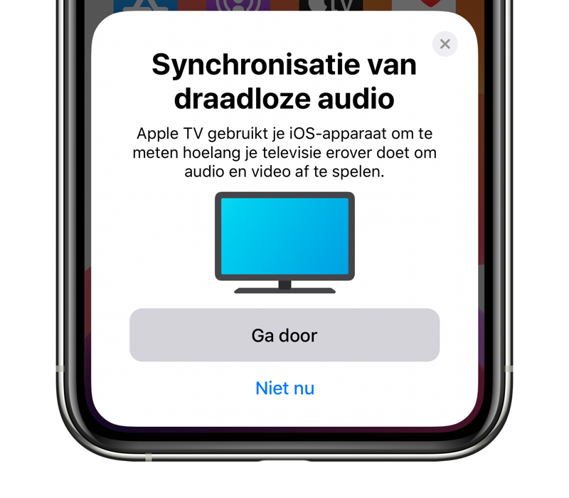 Op de Apple TV audio synchroniseren via je iPhone.