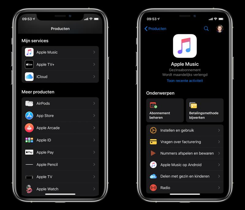 Apple Support app met donkere modus en diensten.