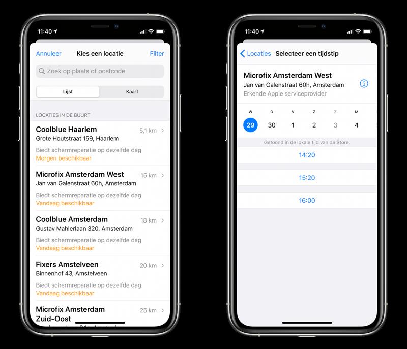 Apple Support afspraak maken en tijd inplannen.