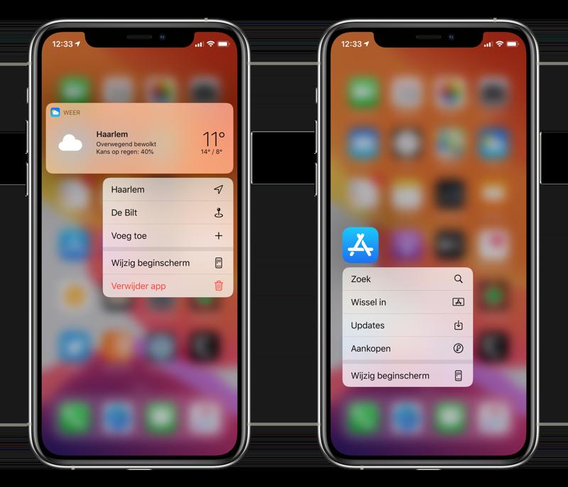 Quick Actions op iPhone.