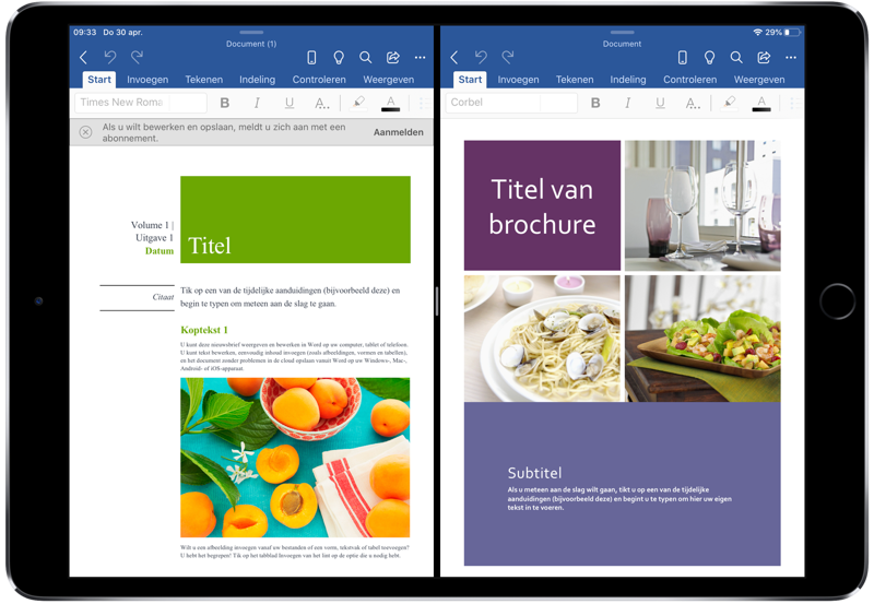 Microsoft Office met meerdere vensters op de iPad.