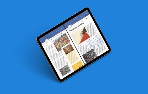 Microsoft Word met twee documenten op iPad.
