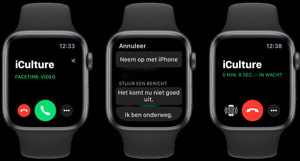 FaceTime op Apple Watch beantwoorden en in de wacht zetten.