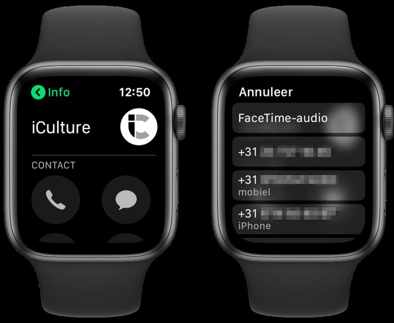 Bellen met Telefoon-app op Apple Watch.